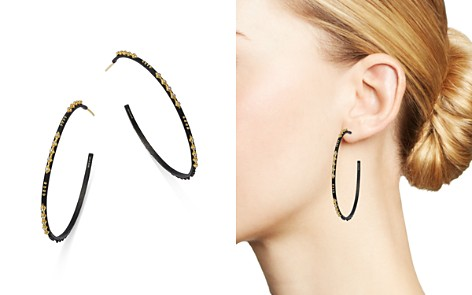 Armenta 18K Gold & Blackened Sterling Silver Old World Crivelli Champagne Diamond Hoop Earrings - Bloomingdale's_2