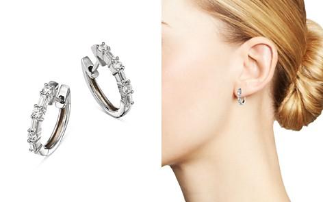Bloomingdale's Diamond Baguette & Round Huggie Hoop Earrings in 14K White Gold, 0.50 ct. t.w. - 100% Exclusive _2