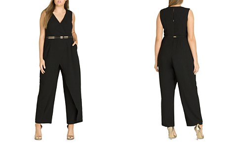 City Chic Plus Flicker Belted Overlay Jumpsuit - Bloomingdale's_2