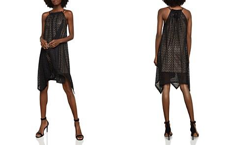 BCBGMAXAZRIA Asymmetrical Mesh Trapeze Dress - Bloomingdale's_2