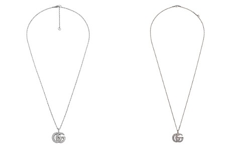 "Gucci 18K White Gold GG Running Diamond Necklace, 23.5"" - Bloomingdale's_2"
