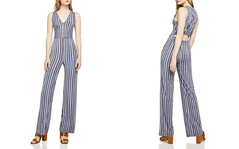 BCBGeneration Cutout-Detail Basketweave-Stripe Jumpsuit - Bloomingdale's_2