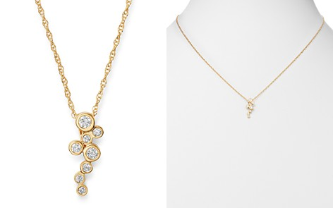 Bloomingdale's Diamond Cascade Bezel Set Pendant Necklace in 14K Yellow Gold, 0.17 ct. t.w. - 100% Exclusive_2