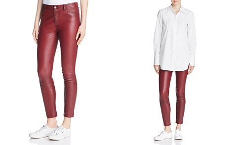 Theory Leather Skinny Jeans in Deep Mulberry - Bloomingdale's_2