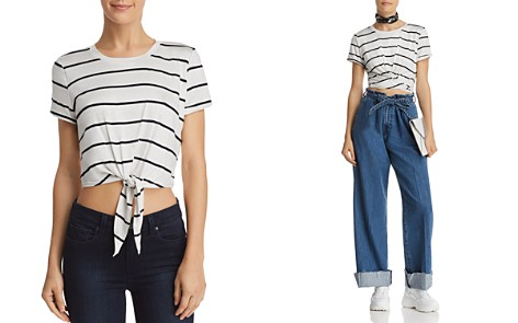 AQUA Tie-Front Cropped Striped Tee - 100% Exclusive - Bloomingdale's_2