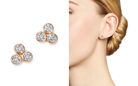 Bloomingdale's Diamond Three Stone Stud Earrings in 14K Rose Gold, 0.30 ct. t.w. - 100% Exclusive_2
