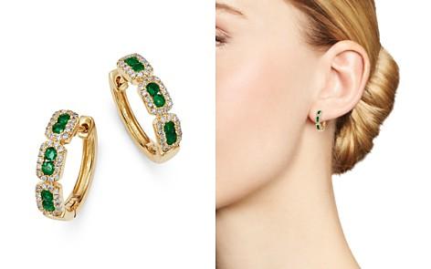 Bloomingdale's Emerald & Diamond Mini Hoop Earrings in 14K Yellow Gold - 100% Exclusive_2