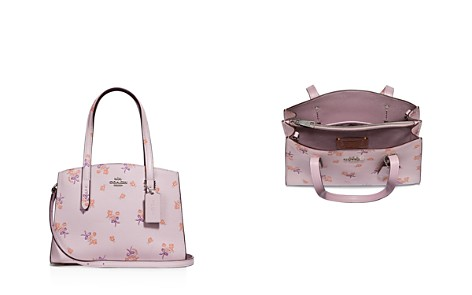 COACH Floral Bow Print Polished Pebble Leather Satchel - Bloomingdale's_2