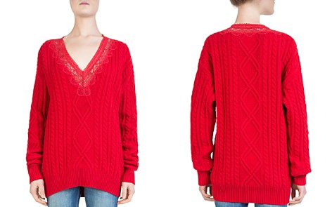 The Kooples Lace-Inset Cable-Knit Sweater - Bloomingdale's_2