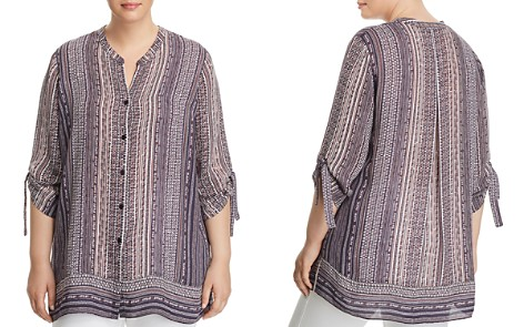 NIC+ZOE Plus Walking on Midnight Button-Down Top - Bloomingdale's_2