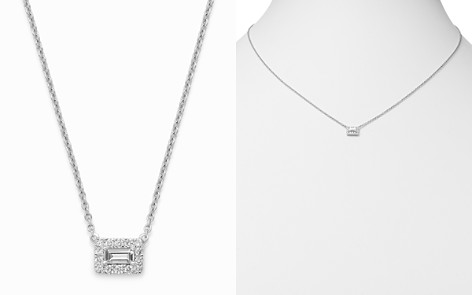 Bloomingdale's Emerald-Cut & Round Diamond Pendant Necklace in 14K White Gold, 0.50 ct. t.w. - 100% Exclusive_2