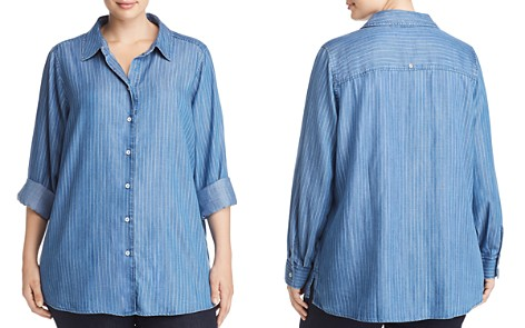 Foxcroft Plus Addison Pinstriped Chambray Top - Bloomingdale's_2