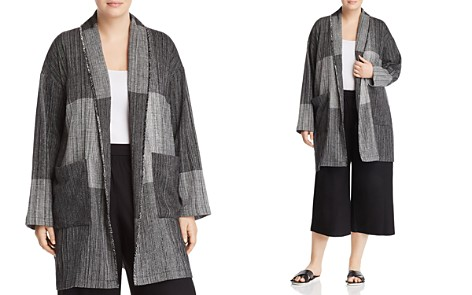 Eileen Fisher Plus Color-Block Shawl Collar Jacket - Bloomingdale's_2