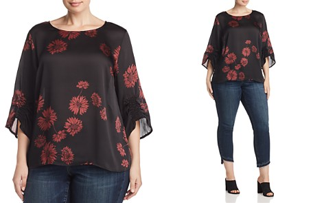 VINCE CAMUTO Plus Ruched-Sleeve Floral Print Top - Bloomingdale's_2