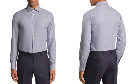Emporio Armani Herringbone-Print Tailored Fit Shirt - Bloomingdale's_2