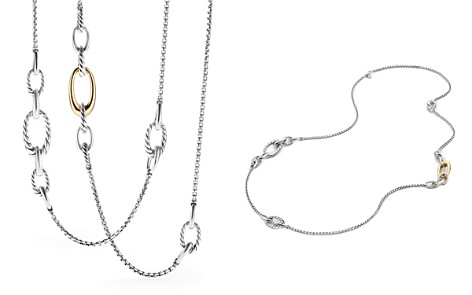 David Yurman Pure Form Chain Station Necklace with 18K Gold - Bloomingdale's_2