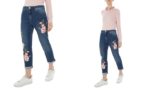 Ted Baker Khlowe Floral Embroidered Boyfriend Jeans in Dark Blue - Bloomingdale's_2
