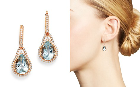 Bloomingdale's Aquamarine & Diamond Teardrop Drop Earrings in 14K Rose Gold - 100% Exclusive_2