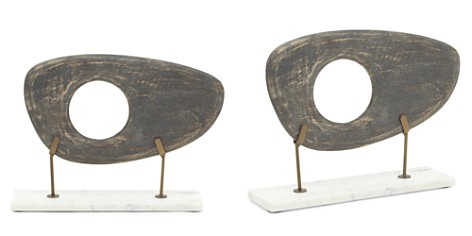 Mitchell Gold Bob Williams Wide Dark Gray Wood Sculpture on Stand - Bloomingdale's_2