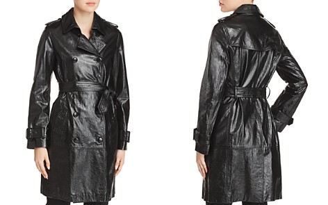 Elie Tahari Natania Leather Trench Coat - Bloomingdale's_2