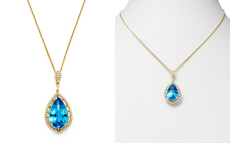 "Bloomingdale's Swiss Blue Topaz & Diamond Teardrop Pendant Necklace in 14K Yellow Gold, 18"" - 100% Exclusive_2"