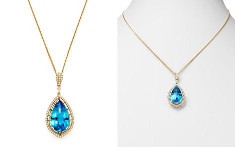 "Bloomingdale's Swiss Blue Topaz & Diamond Teardrop Pendant Necklace in 14K Yellow Gold, 18"" - 100% Exclusive_2"