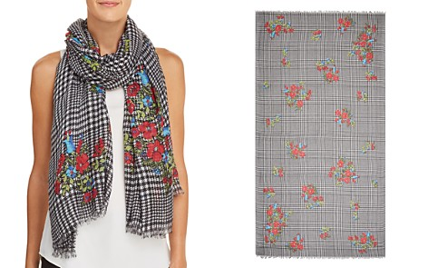 AQUA Glen Plaid Floral Print Scarf - 100% Exclusive - Bloomingdale's_2