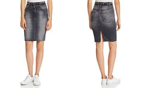 Hudson Helena Triple-Waistband Denim Skirt in Worn Black - Bloomingdale's_2
