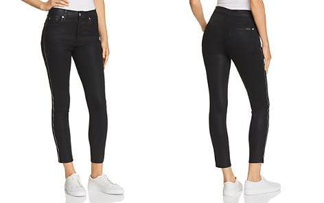 7 For All Mankind Side Zip High Waist Skinny Jeans in B(air) Black with Velvet - Bloomingdale's_2