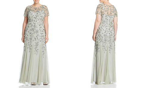 Adrianna Papell Plus Floral Embellished Godet Gown - Bloomingdale's_2