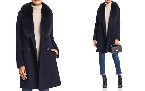Maximilian Furs Fleurette Fur Trim Double-Breasted Front Wool Coat - Bloomingdale's_2