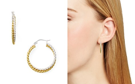 AQUA Double Textured Hoop Earrings in 18K Gold-Plated Sterling Silver and Sterling Silver - 100% Exclusive - Bloomingdale's_2