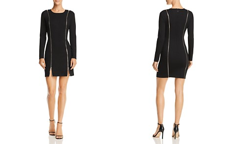 GUESS Wess Zip Detail Body-Con Dress - Bloomingdale's_2