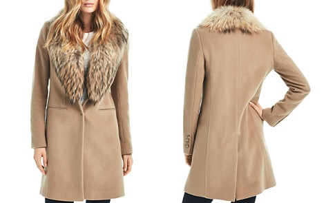 SAM. Crosby Wool Coat with Fur Trim - Bloomingdale's_2
