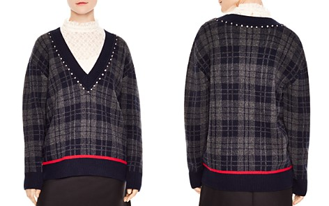 Sandro José Plaid V-Neck Sweater - Bloomingdale's_2