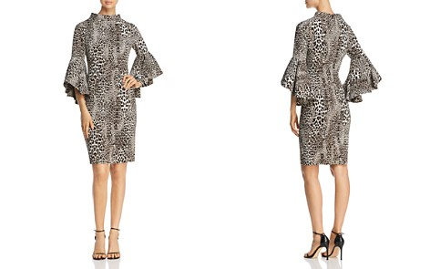 Badgley Mischka Bell Sleeve Leopard Print Sheath Dress - Bloomingdale's_2