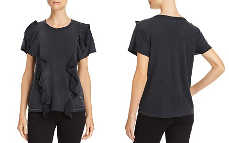 LNA Flute Ruffle-Front Tee - Bloomingdale's_2