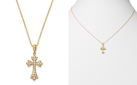 Bloomingdale's Diamond Small Cross Pendant Necklace in 14K Yellow Gold, 0.15 ct. t.w. - 100% Exclusive_2