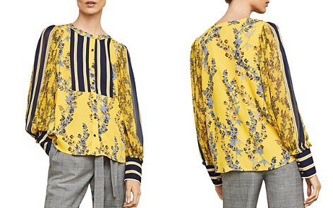 BCBGMAXAZRIA Striped-Inset Botanical Print Top - Bloomingdale's_2