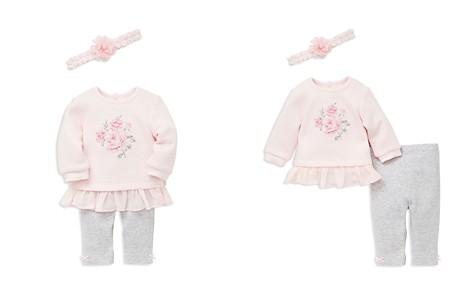 Little Me Girls' Textured Peplum Rose Sweatshirt with Leggings & Headband - Baby - Bloomingdale's_2