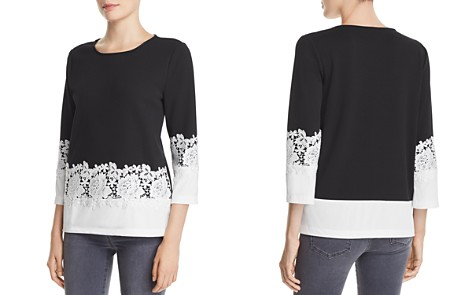 KARL LAGERFELD Lace-Trimmed Color-Block Top - Bloomingdale's_2