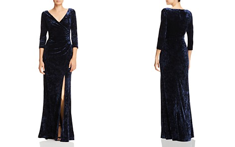 Adrianna Papell Ruched Velvet Long-Sleeve Gown - Bloomingdale's_2