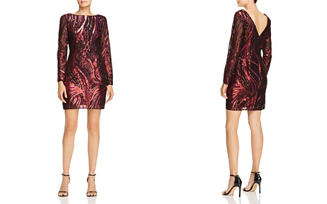 Aidan by Aidan Mattox Sequin-Embroidered Long Sleeve Dress - Bloomingdale's_2