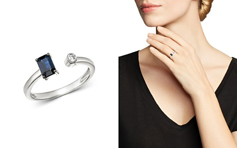 Bloomingdale's Sapphire & Diamond Geometric Open Ring in 14K White Gold - 100% Exclusive_2
