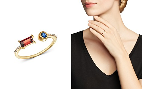 Bloomingdale's Garnet, Sapphire & Diamond Geometric Open Ring in 14K Yellow Gold - 100% Exclusive_2