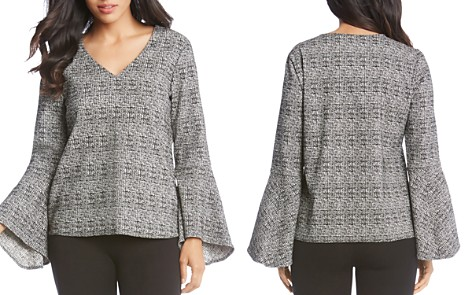 Karen Kane Plaid Bell Sleeve Top - Bloomingdale's_2