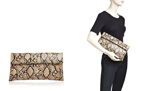 AQUA Snake-Embossed Foldover Clutch - 100% Exclusive - Bloomingdale's_2