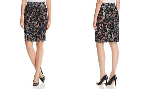 Badgley Mischka Velvet Floral Sequin Pencil Skirt - Bloomingdale's_2