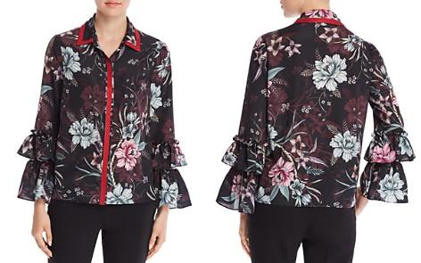Badgley Mischka Floral Ruffle Sleeve Blouse - Bloomingdale's_2