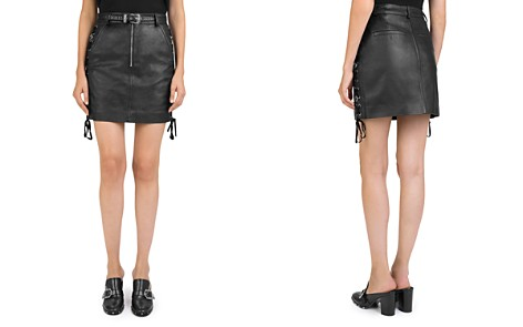 The Kooples Lace-Up Leather Skirt - Bloomingdale's_2